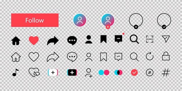 Tic tac. icônes vectorielles tik tok. collection d'icônes vectorielles de médias sociaux.