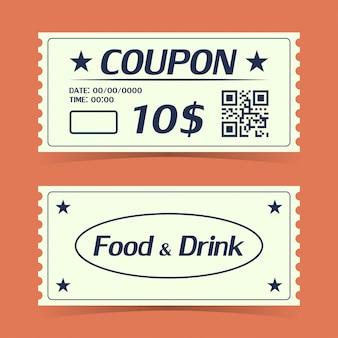 Ticket carte de coupon. modèle d'élément pour la conception