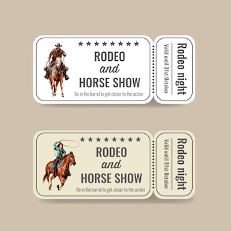 Ticket de cow-boy avec rodéo américain