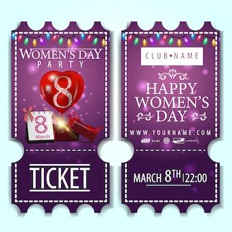 Ticket violet à la fête des femmes avec des cadeaux