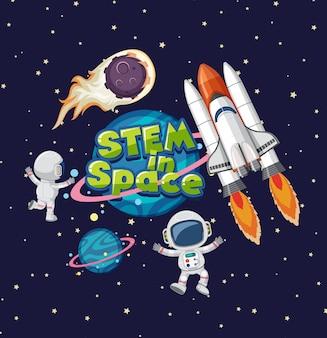 Tige dans le logo de l'espace sur saturne dans le fond de l'espace