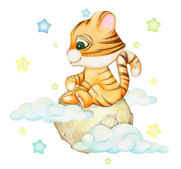 Tiger cub, assis sur la lune, sur un fond isolé. un animal aquarelle dans un style cartoon.