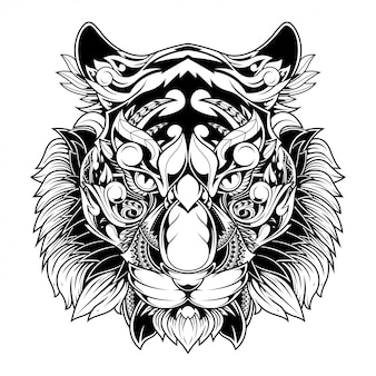 Tiger doodle ornement illustration, conception de tatouage et de tshirt
