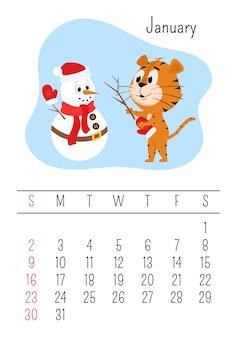 Tiger fait un bonhomme de neige. modèle de page de calendrier mural vertical pour janvier 2022 avec personnage de dessin animé