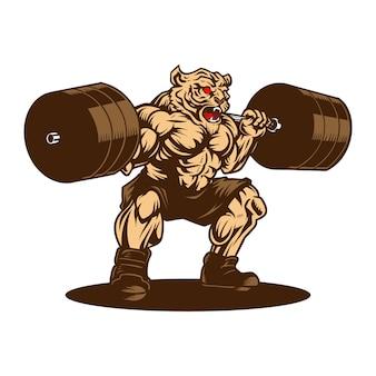 Tiger haltérophilie gym sport dessiné à la main
