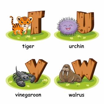 Tiger urchin vinegaroon walrus alphabet en bois animaux