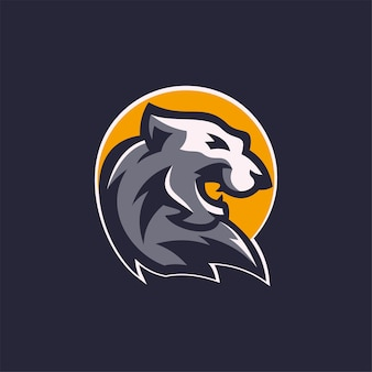 Tigre animal tête dessin animé logo modèle illustration esport logo jeu premium vecteur