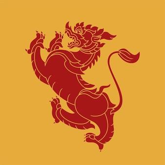 Tigre d'art thaïlandais, création de logo. vecteur