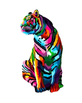 Tigre assis à partir de peintures multicolores éclaboussure de dessin coloré à l'aquarelle réaliste