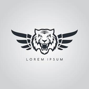 Tigre aviateur symbole logo logotype thème vector illustration