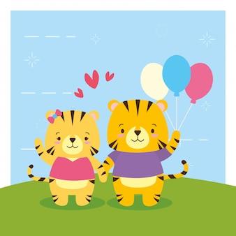 Tigre avec des ballons, dessin animé animal mignon et style plat, illustration