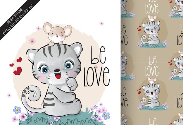 Tigre de bébé animal mignon charmant avec modèle sans couture de souris bébé