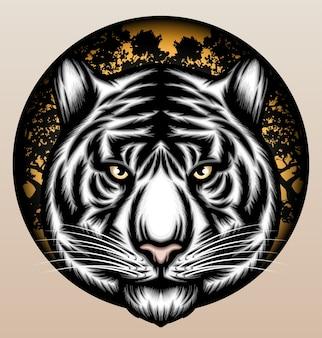Tigre blanc dans la jungle.