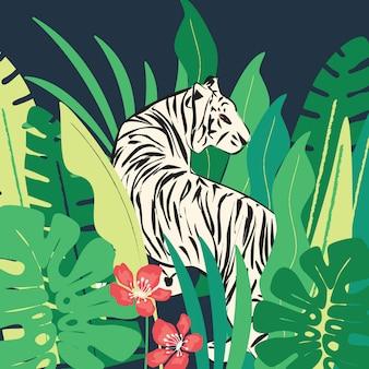 Tigre blanc dessiné à la main avec des feuilles exotiques tropicales