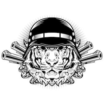 Tigre avec casque et pistolets concept de design vectoriel détaillé