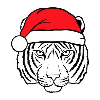 Tigre en chapeau de noël nouvel an et noël santa claus symbole 2022 illustration vectorielle