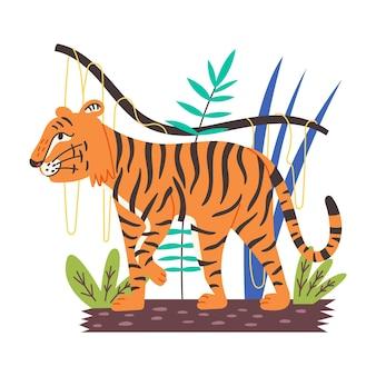 Tigre chinois tiges dans la jungle. roi des bêtes prédateur sauvage. style cartoon plat illustration vectorielle animal