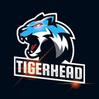Tigre en colère esport logo design template vector illustration