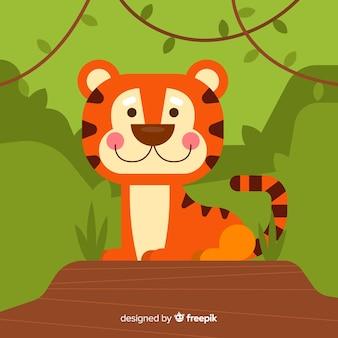 Tigre dans le fond de la jungle