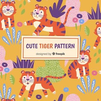 Tigre dans le motif de la jungle