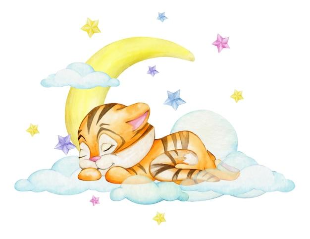 Un tigre, dans un style cartoon, dort sur fond de nuages. notion d'aquarelle.
