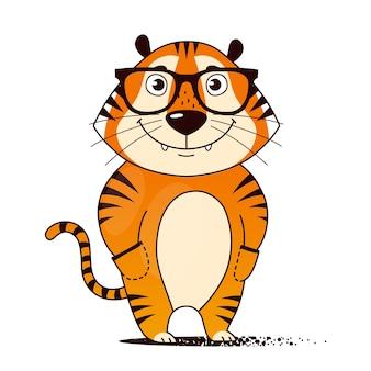Tigre de dessin animé cool dans des verres les mains dans les poches