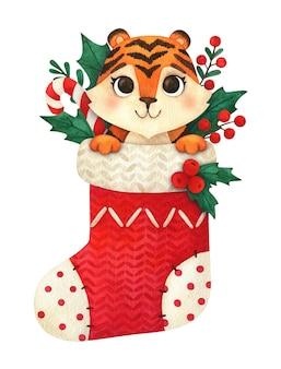 Tigre de dessin animé dans un bas de noël. un animal pour l'imprimé du nouvel an de 2022