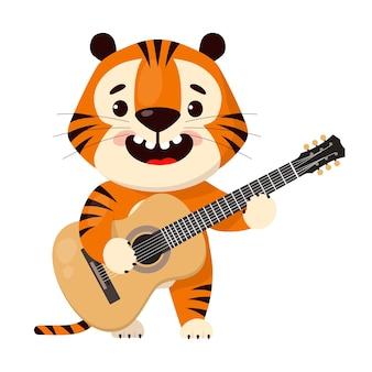 Le tigre de dessin animé mignon joue de la guitare acoustique