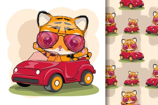 Tigre de dessin animé mignon sur une voiture rouge
