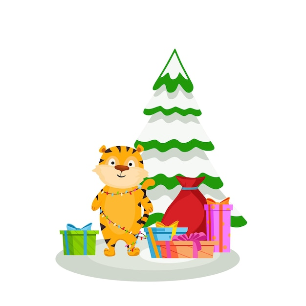 Un tigre donne des cadeaux debout à côté d'un arbre de noël enneigé symbole de l'année