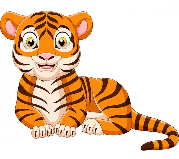 Tigre drôle de dessin animé isolé sur fond blanc