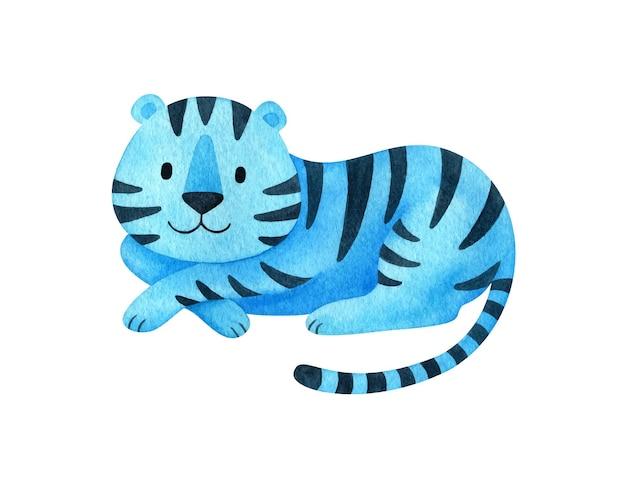 Le tigre d'eau bleue est un symbole de la nouvelle année 2022. animal dans un style cartoon. un caractère festif pour la déco de noël.