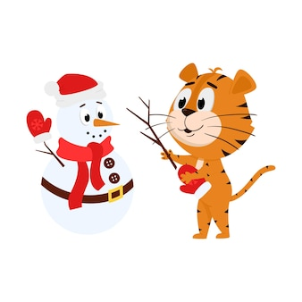 Un tigre fait un bonhomme de neige. personnage de dessin animé mignon.