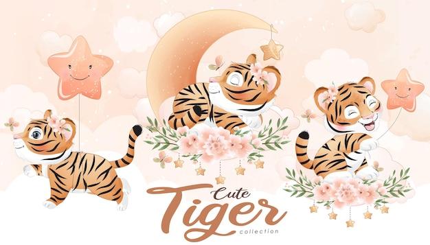 Tigre de griffonnage mignon avec ensemble floral avec illustration aquarelle