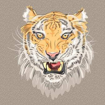 Tigre grognant menaçant de vecteur