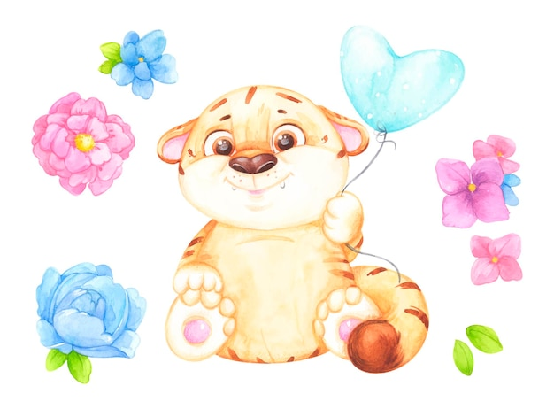 Tigre Avec Une Illustration De Ballon Et De Fleurs Vecteur Premium