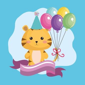 Tigre mignon avec des ballons air carte d'anniversaire kawaii