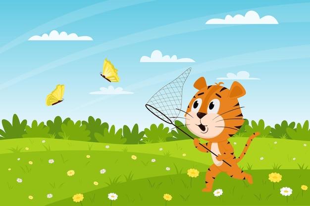 Le tigre mignon de bande dessinée court à travers le champ et attrape des papillons. paysage d'été. caractère animalier