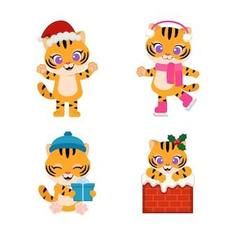 Le tigre mignon célèbre noël dans diverses poses