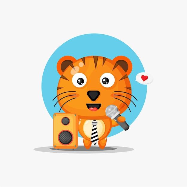 Le tigre mignon chante