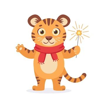 Tigre mignon dans une écharpe avec sparkler souhaite un joyeux noël et une bonne année 2022