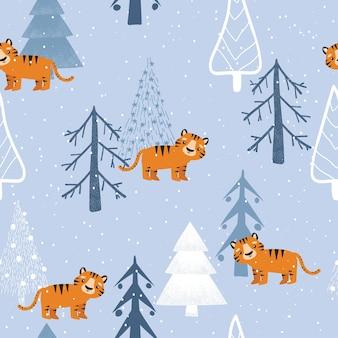 Tigre mignon dans la forêt d'hiver, modèle sans couture