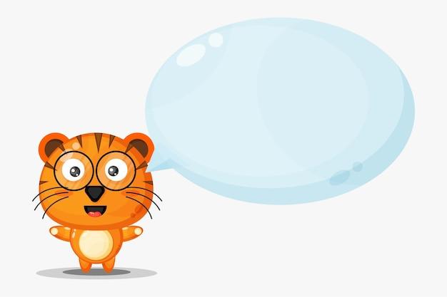 Tigre mignon avec discours de bulle isolé sur blanc