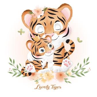 Tigre mignon doodle avec illustration aquarelle