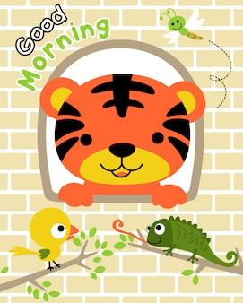 Tigre mignon à la fenêtre avec des amis