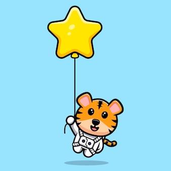 Tigre mignon flottant avec la mascotte de dessin animé de ballon étoile