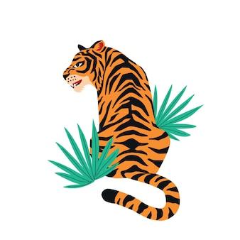 Tigre mignon sur fond blanc et feuilles tropicales.