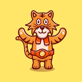 Le tigre mignon gagne le match de boxe