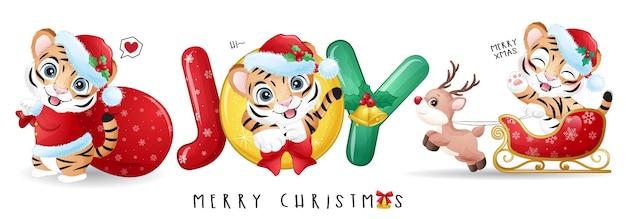 Tigre mignon de griffonnage pour l'ensemble d'illustration de joyeux noël