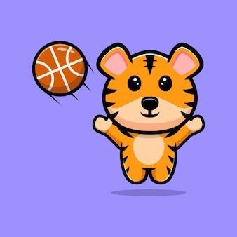 Tigre mignon jouant la mascotte de dessin animé de basket-ball